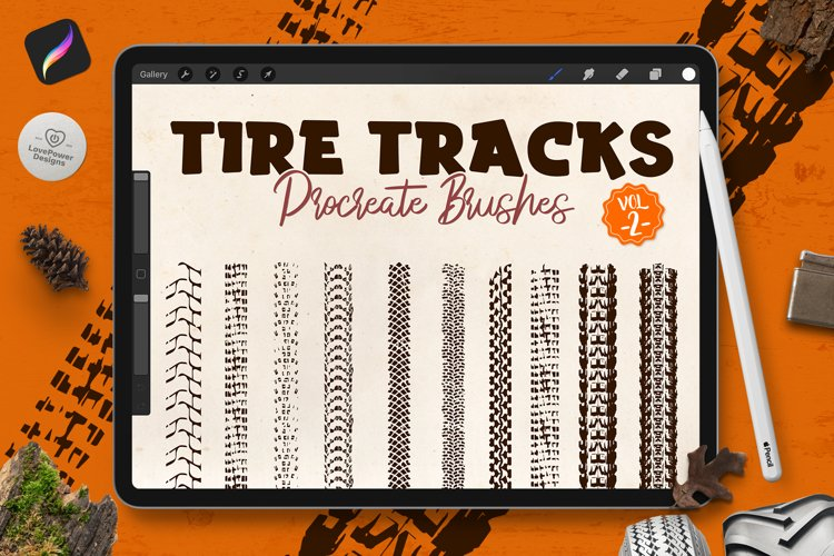 Procreate Brushes   Tire Track Brushes for Procreate Vol2