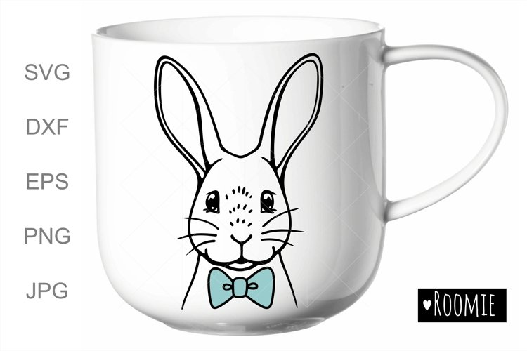 Rabbit SVG, Bunny face with bowtie svg, Happy Easter clipart example image 1