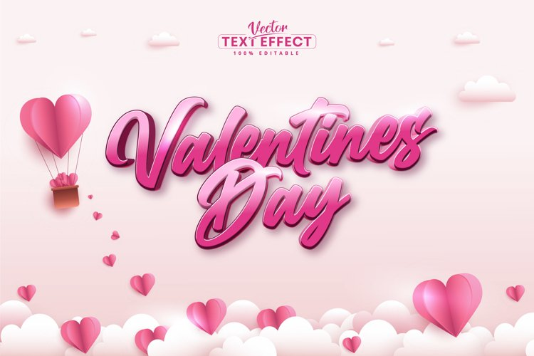 Valentines day text, calligraphic editable text effect