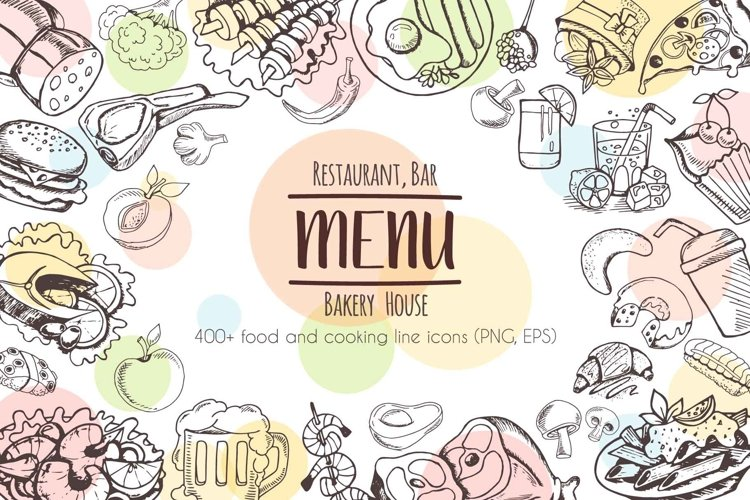 Restaurant Menu - 430 vector food icons example image 1