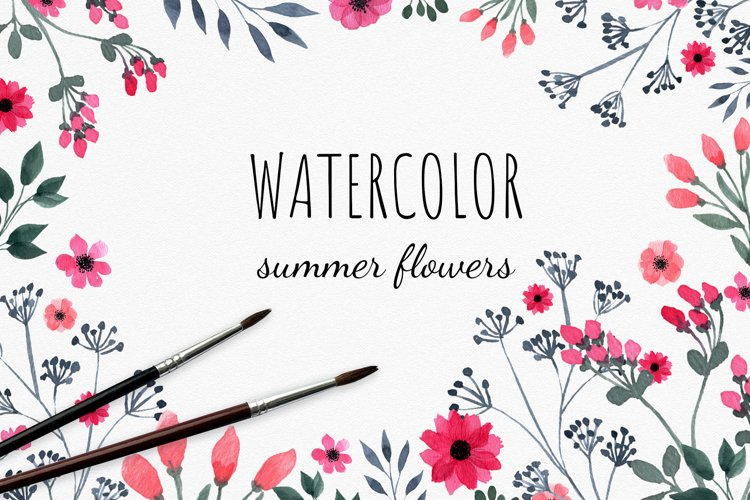 Set of watercolor wild summer flowers cliparts. example image 1