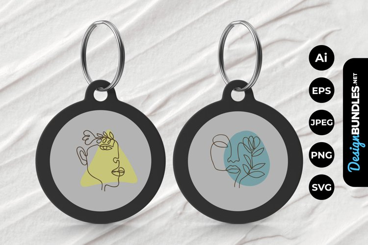 Monoline Floral Girl Keychain example image 1