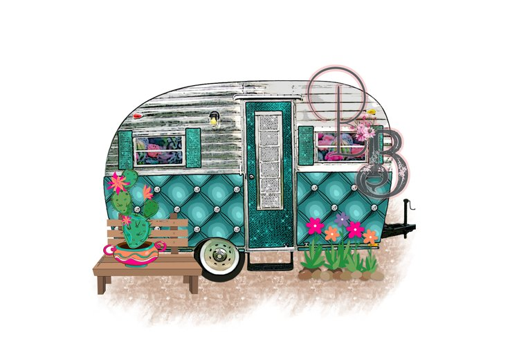 Camper Travel Trailer Cactus Camping Png example image 1