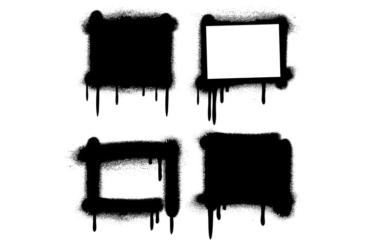Spray paint graffiti grunge frames, banners vector example image 1