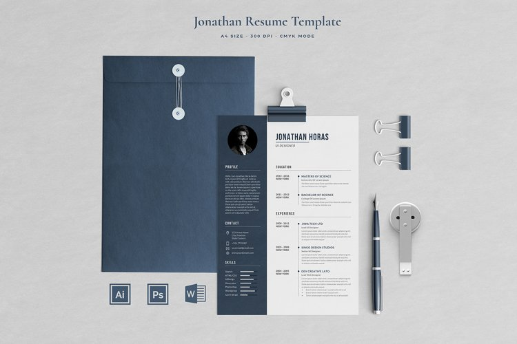 Jonathan Resume with Cover Letter Professional Template example image 1