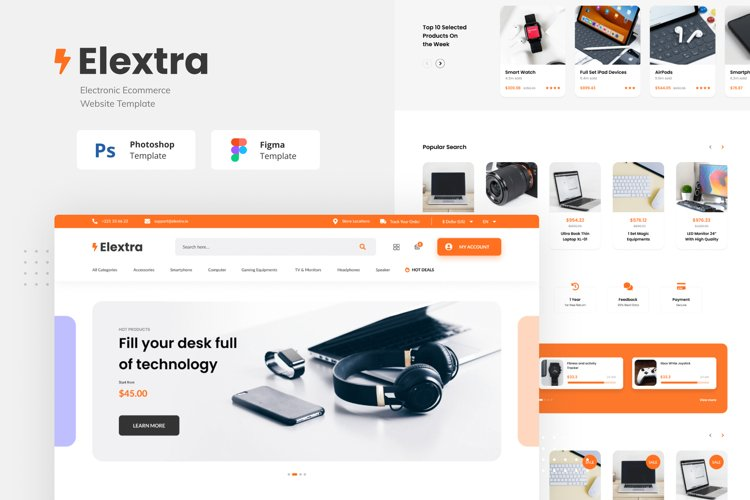 Elextra Electronic E-commerce Website Template example image 1