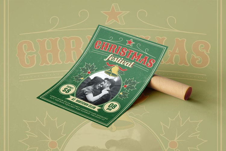 Retro Christmas Festival - Flyer Poster example image 1
