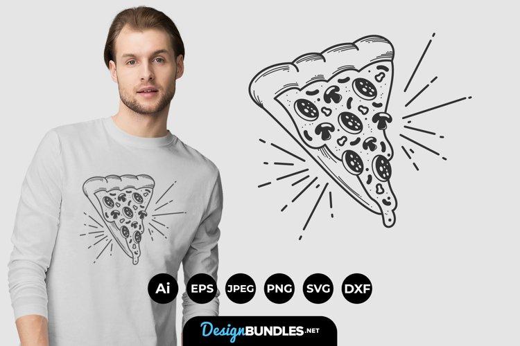 Pizza Illustrations Badge for T-Shirt Design