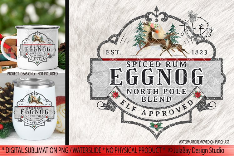 Spiced Rum and Eggnog Christmas Sublimation Design PNG example image 1