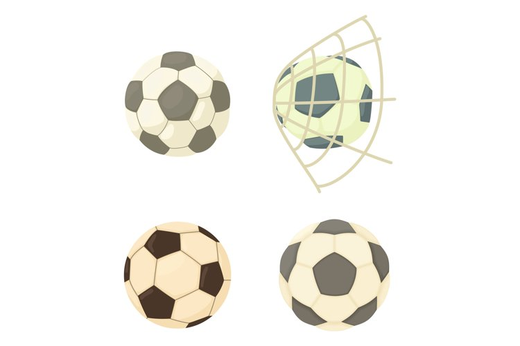 Soccer ball icon set, cartoon style example image 1