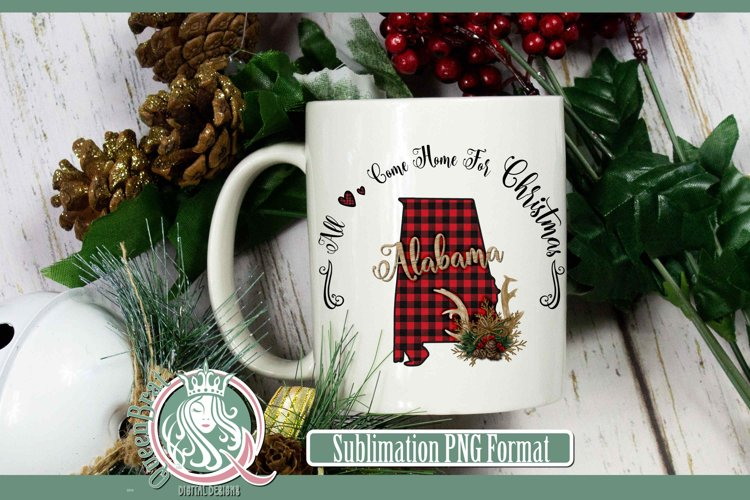 Sublimation | Alabama Plaid Christmas State example image 1