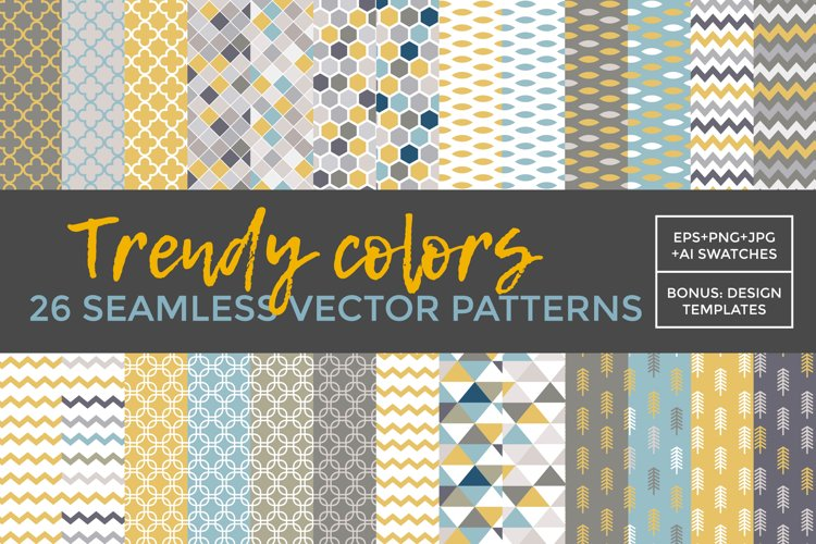 26 vector patterns Trendy Colors example 1