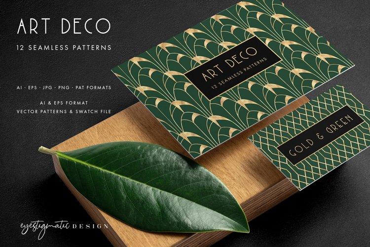 12 Seamless Art Deco Patterns - Gold & Green