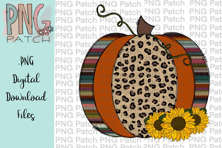 Leopard Print and Serape Pumpkin with Sunflowers, Fall PNG example image 1