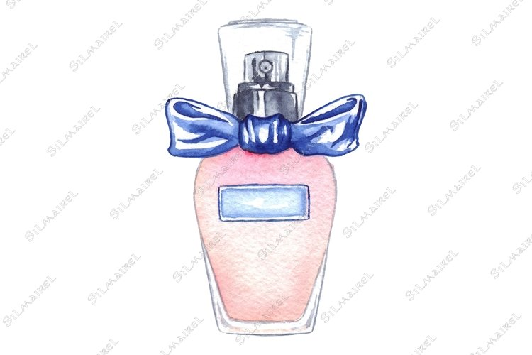 Watercolor women's perfume bottle eau de parfum isolated example image 1