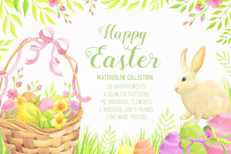 Happy Easter watercolor collection example image 1