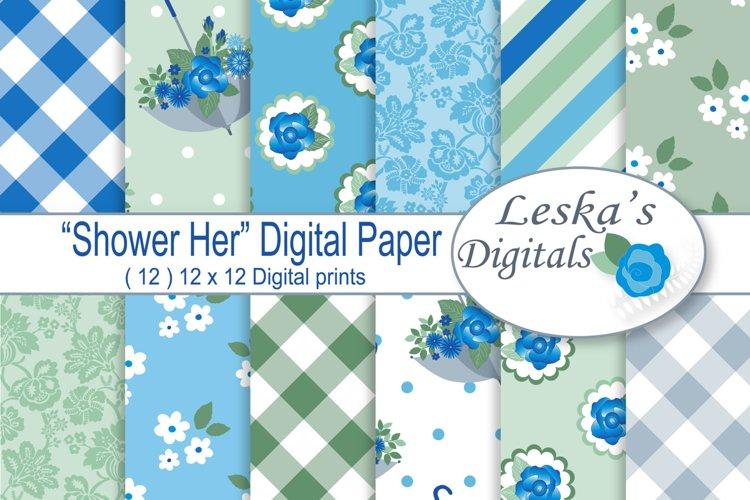 Blue Floral Digital Paper Pack example image 1