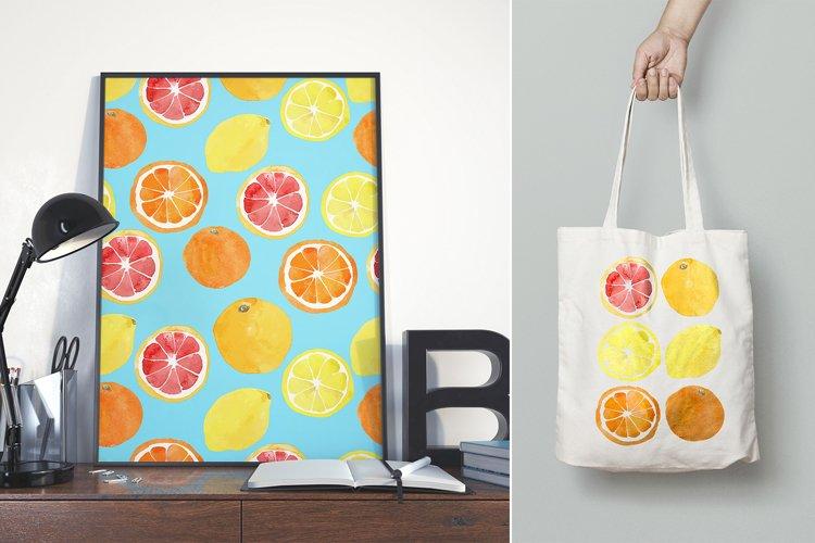 Watercolor vector citrus fruits example 1
