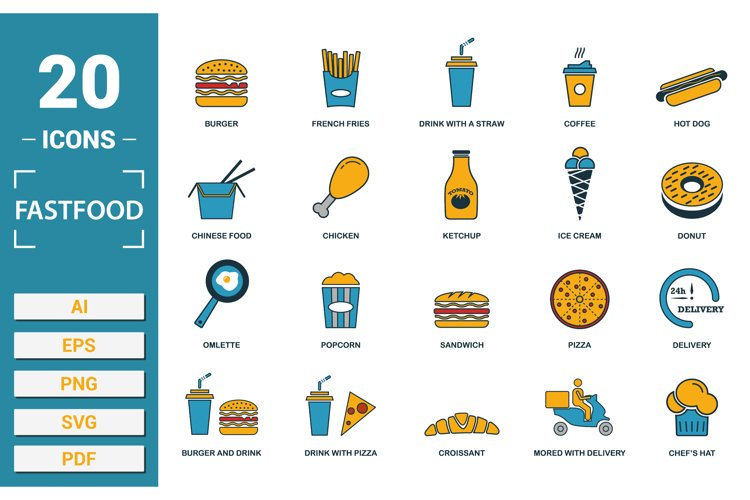 Fastfood icon vector set in SVG, PNG, JPG, EPS, PDF, AI.