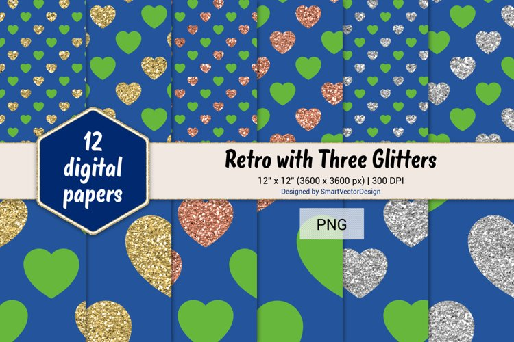 Hearts Retro with Three Glitters Color Combo #44 example image 1