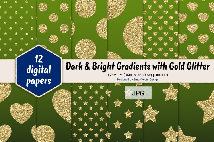 Polka Dot, Hearts, & Stars - Gradients with Gold Glitter #13 example image 1