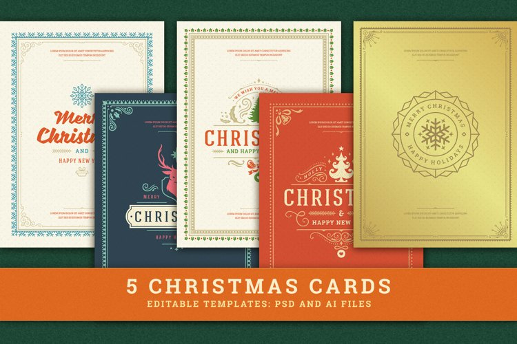 5 Christmas Greeting Cards example image 1