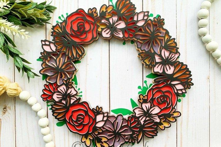 3D Layered Spring Floral Wreath- Paper Craft Digital File