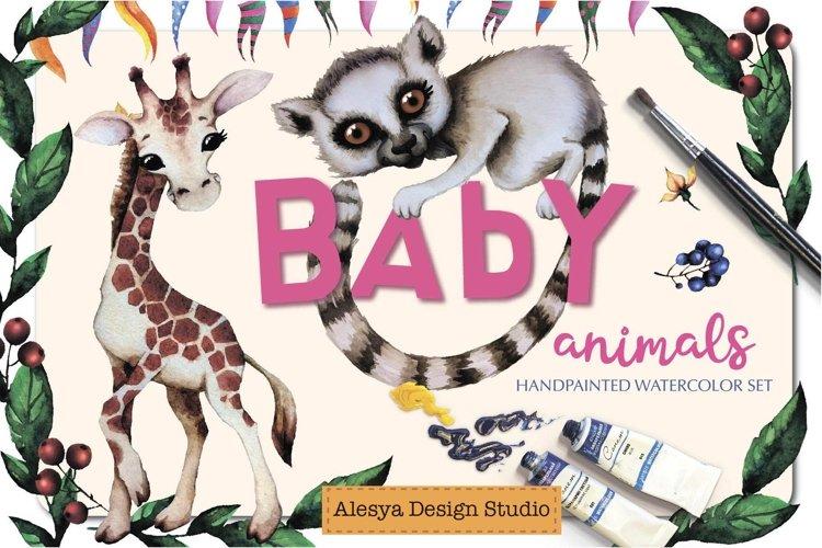 Baby animals. Cute watercolor zebra, hippo, lemur, tiger etc
