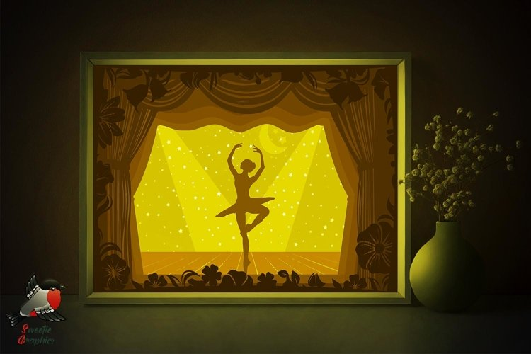 Dancing Ballerina Lightbox Shadow Box SVG Template example image 1