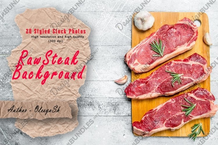 20 Photos Raw beef steaks on cutting Board. Backgrounds example image 1