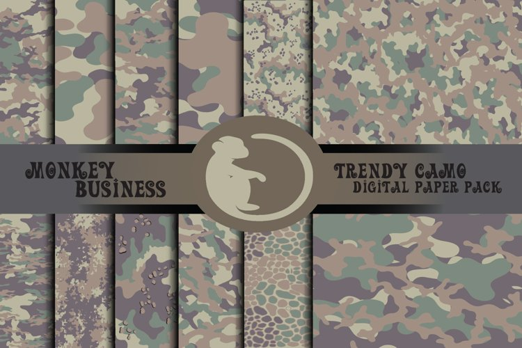 Camo textures, Digital papers, Instant download,Fabric print example image 1