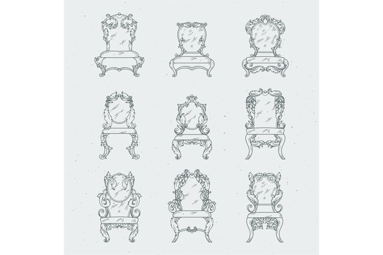 Antique italian chairs and armchair. Vector furniture isolat example image 1