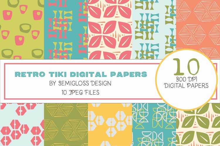 Luau Tiki Digital Paper and Patterns for Summer