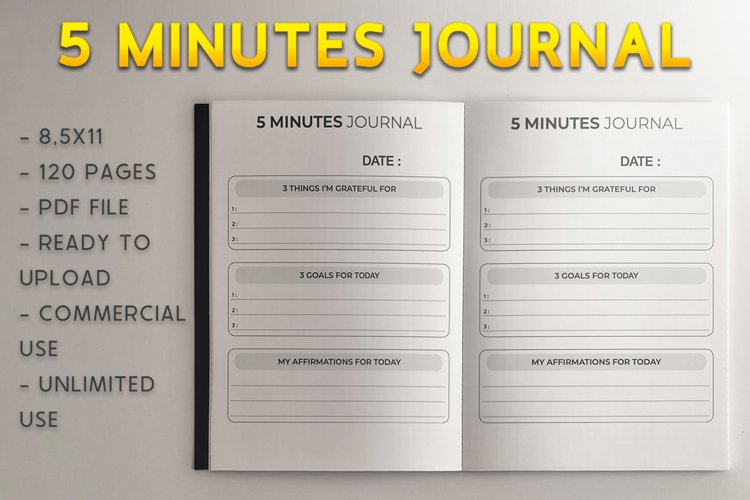 5 Minutes Morning Journal l KDP Template