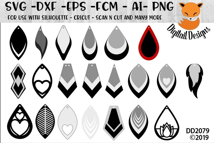Faux Leather Earrings Shapes SVG example image 1