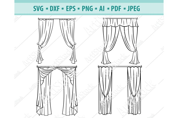 Curtains svg, Theater curtain Png, Cinema curtain Eps, Dxf example image 1