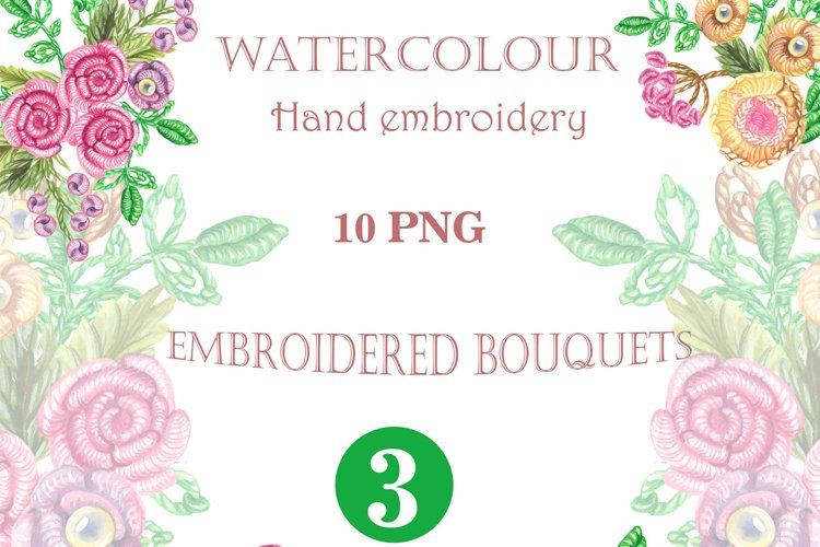 Watercolor hand embroidery clipart, Watercolor needlework example image 1