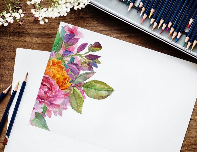 Watercolor floral deer printable clipart, golden graphics example 5