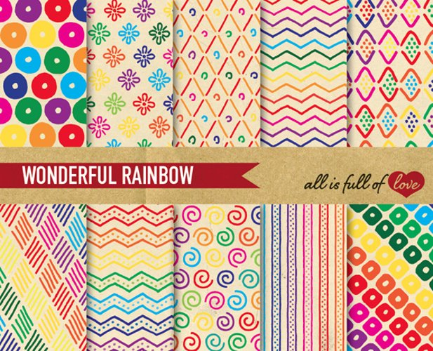 Hand Draw Vintage Background Patterns in Rainbow colors example image 1