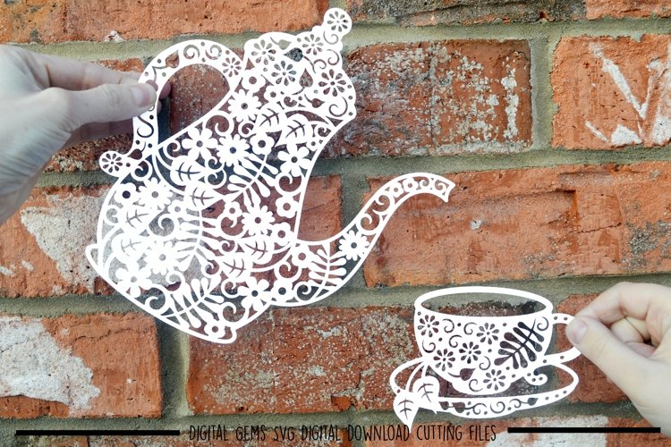 Coffee pot and cup paper cut SVG  DXF  EPS files example image 1