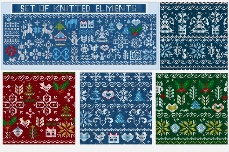 Knitted elements, symbols and Christmas decorations example image 1