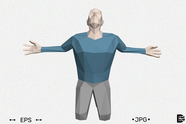 Low poly man praying. 3d vector illustration. example image 1