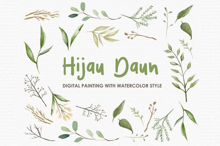 Hijau Daun - Digital Watercolor Floral Flower Style Clipart example image 1