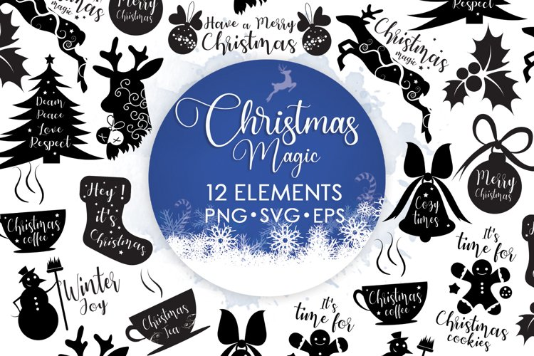 Christmas Bundles, Christmas Svg, Reindeer Svg, Ornament Svg example image 1