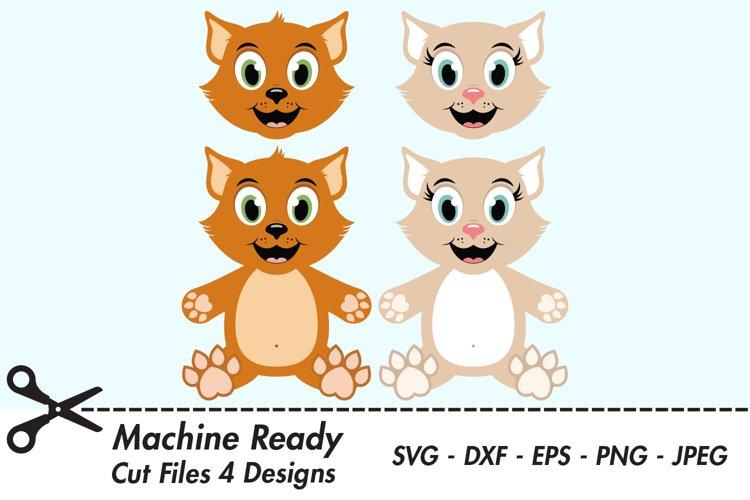 Cute Cat SVG Cut Files, PNG cat clipart example image 1
