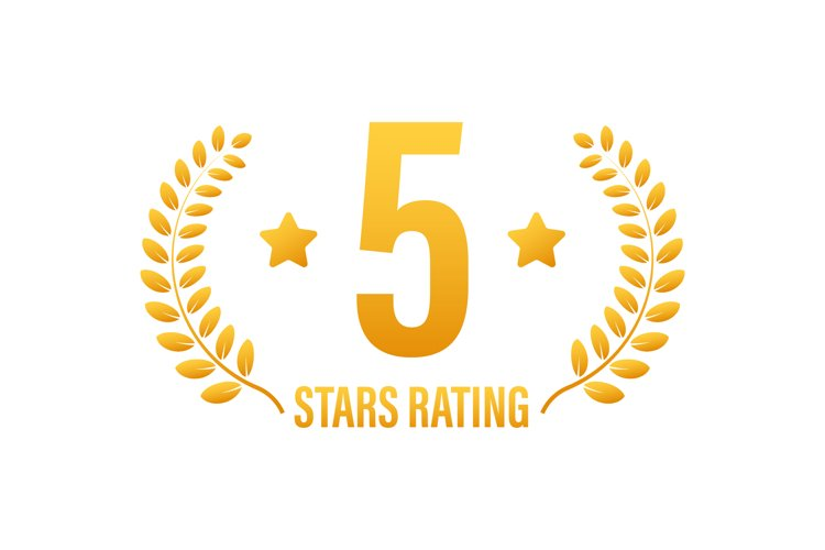 5 star rating. Badge with icons on white background example image 1