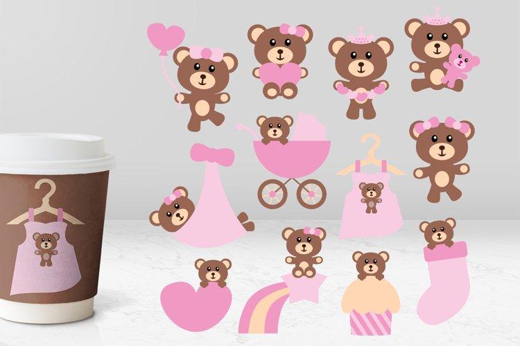 Baby girl pink teddy bear illustrations