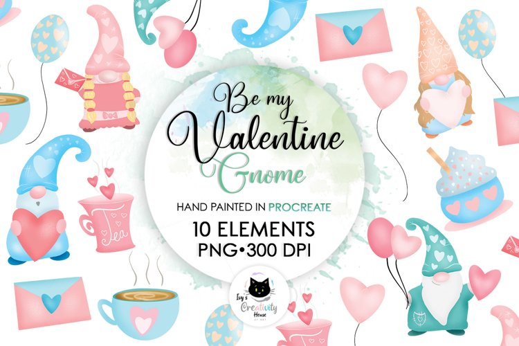 Be My Valentine Pastel Gnome   Love Sublimation Bundle PNG example image 1