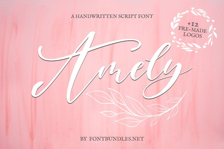 Web Font Amely Script Font and logo example image 1