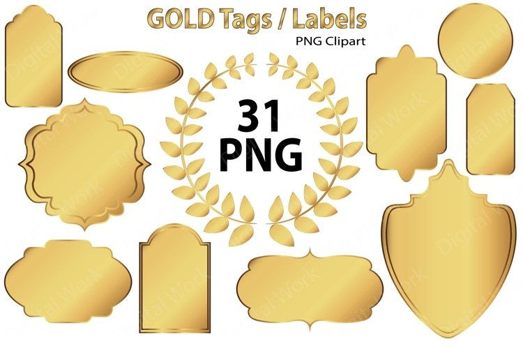 Gold Clip Art Tags and Labels example image 1